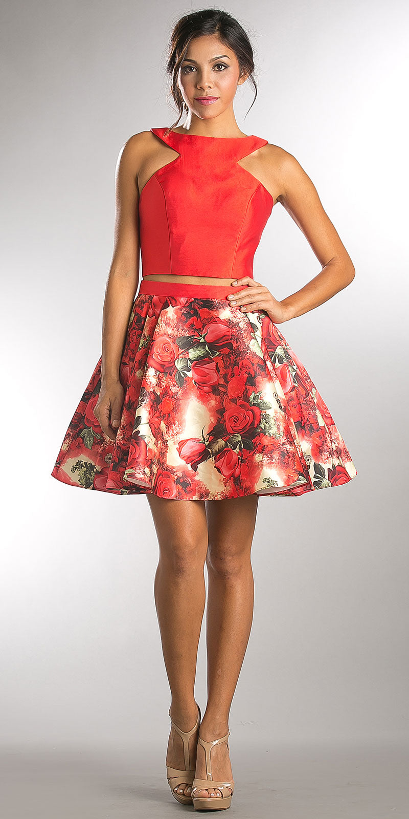 Image of Solid Crop Top Short Floral Print Skirt Homecoming Dress in Red