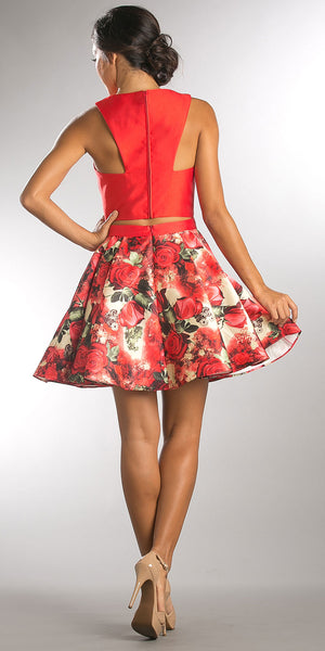 Image of Solid Crop Top Short Floral Print Skirt Homecoming Dress back in Red