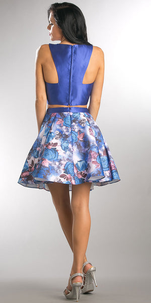 Back image of Solid Crop Top Short Floral Print Skirt Homecoming Dress