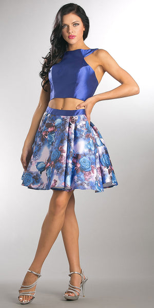 Main image of Solid Crop Top Short Floral Print Skirt Homecoming Dress