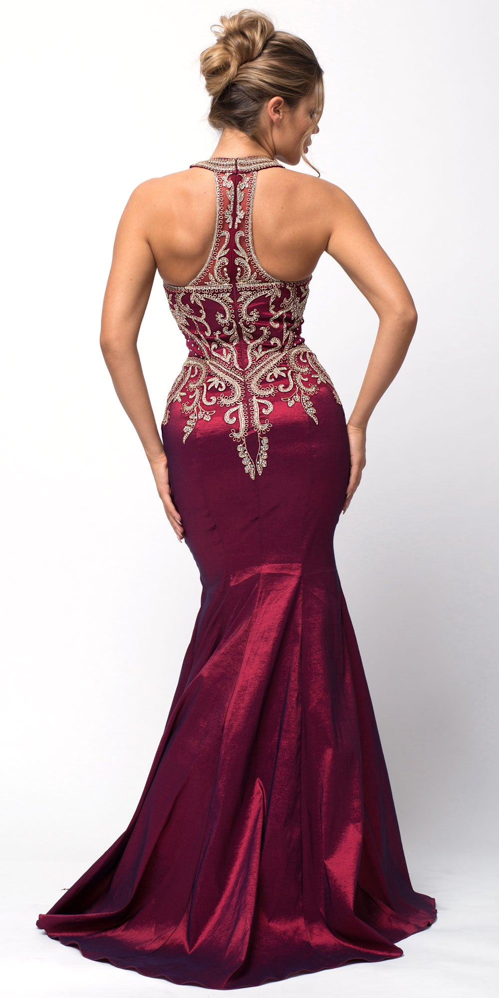 Image of Embellished Bodice Round Neck Fit-n-flare Long Prom Dress back in Burgundy