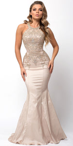 Image of Embellished Bodice Round Neck Fit-n-flare Long Prom Dress in Champaign