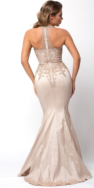 Back image of Embellished Bodice Round Neck Fit-n-flare Long Prom Dress