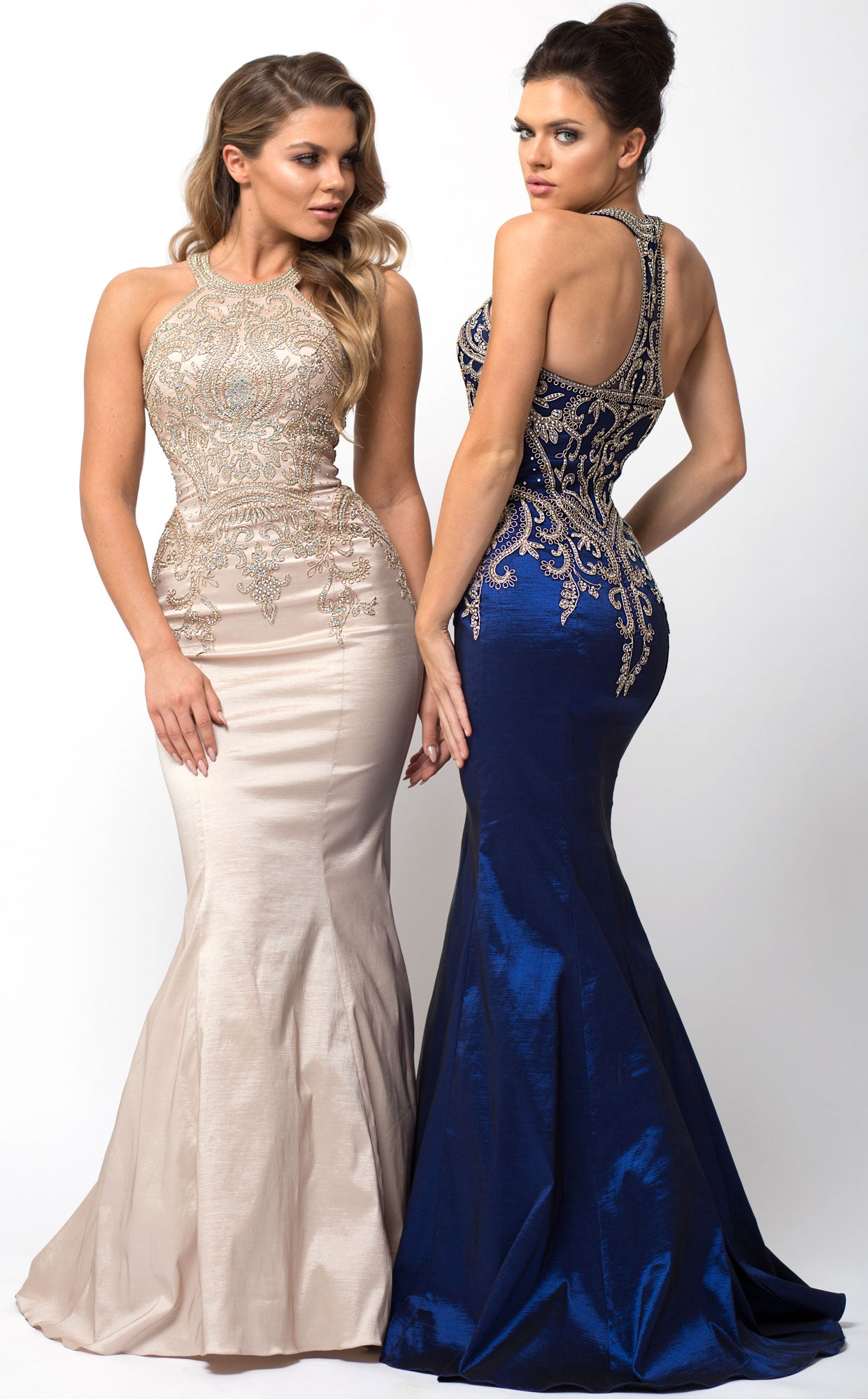 Main image of Embellished Bodice Round Neck Fit-n-flare Long Prom Dress