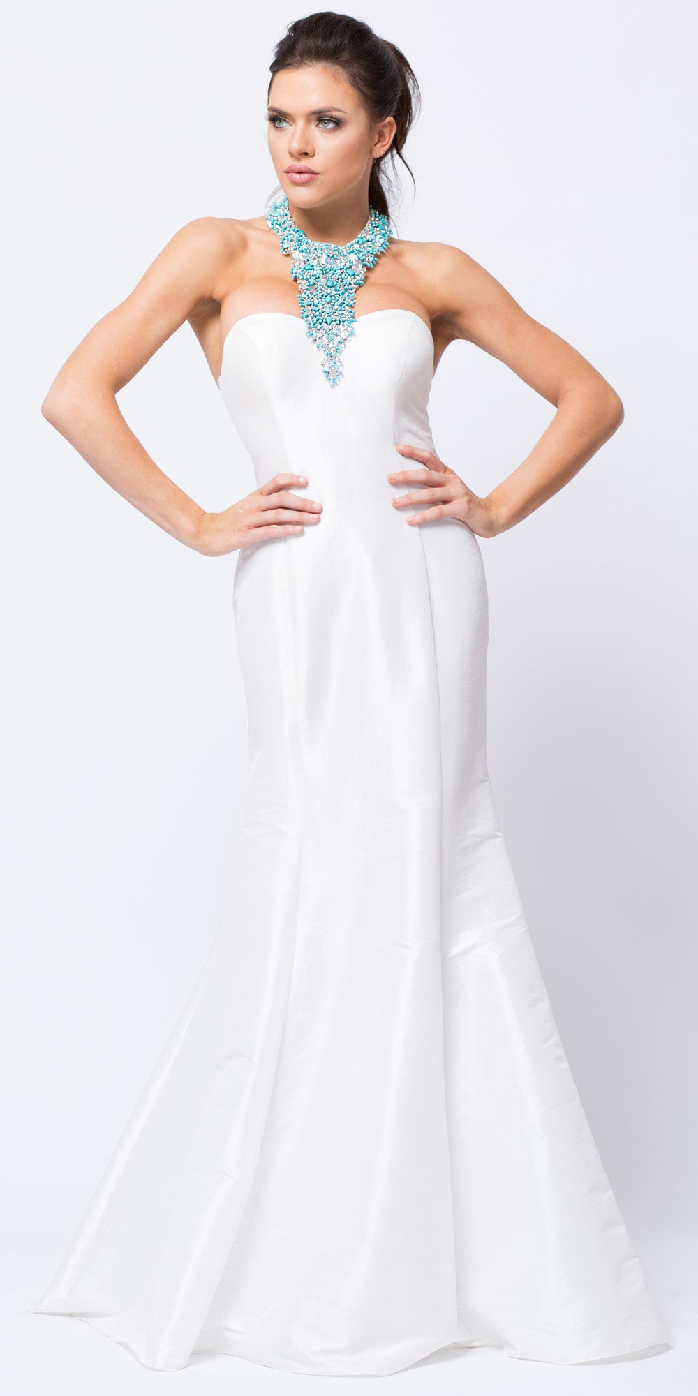 Image of Bejeweled Halter Necklace Fit-n-flare Long Prom Dress in Off White