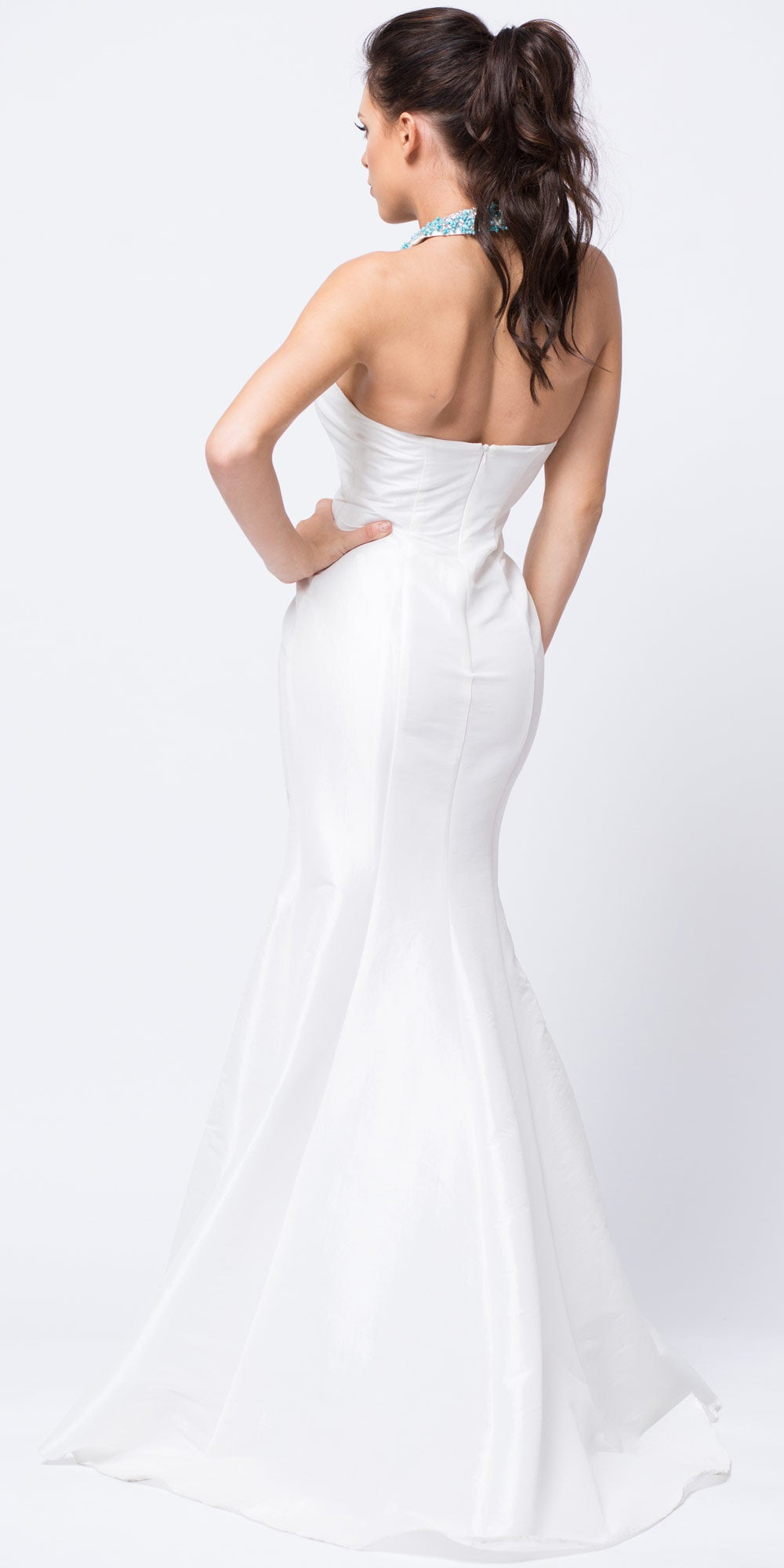 Image of Bejeweled Halter Necklace Fit-n-flare Long Prom Dress back in Off White