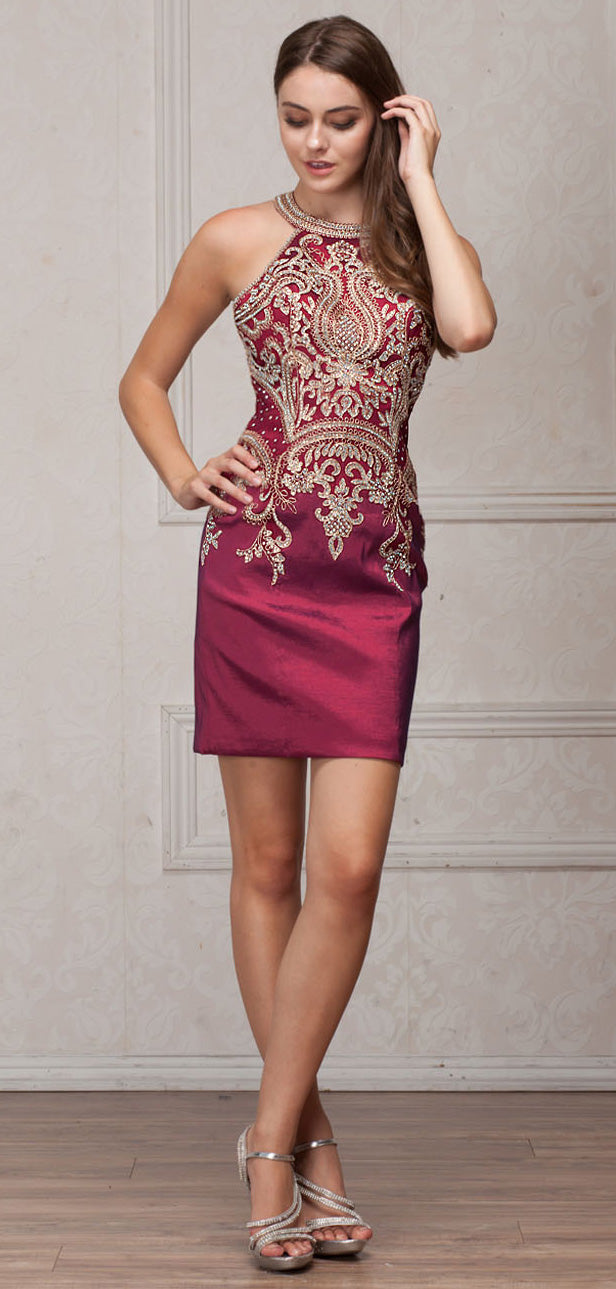 Main image of Round Band Neck Embellished Bodice Fitted Short Party Dress