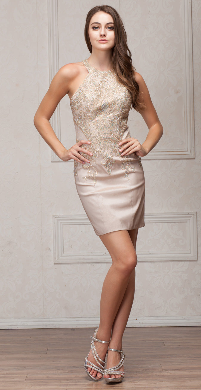Image of Round Band Neck Embellished Bodice Fitted Short Party Dress in Champaign