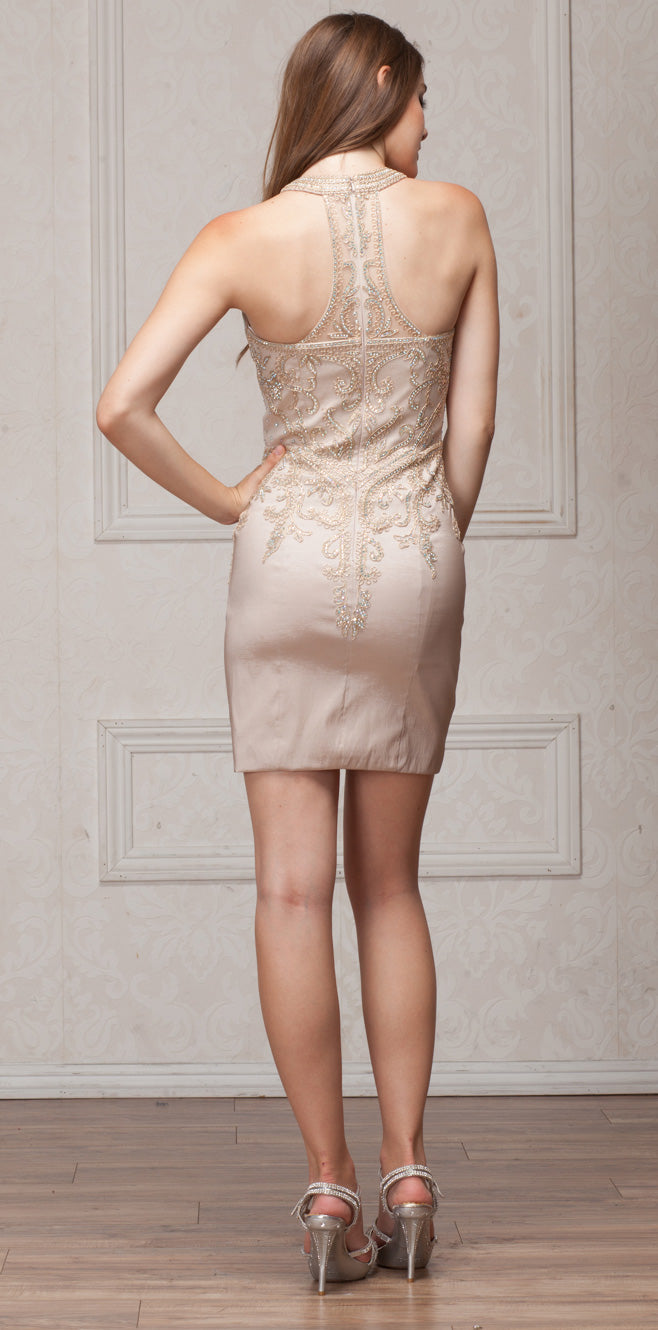 Back image of Round Band Neck Embellished Bodice Fitted Short Party Dress