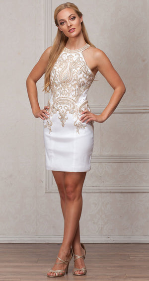 Image of Round Band Neck Embellished Bodice Fitted Short Party Dress in Off White
