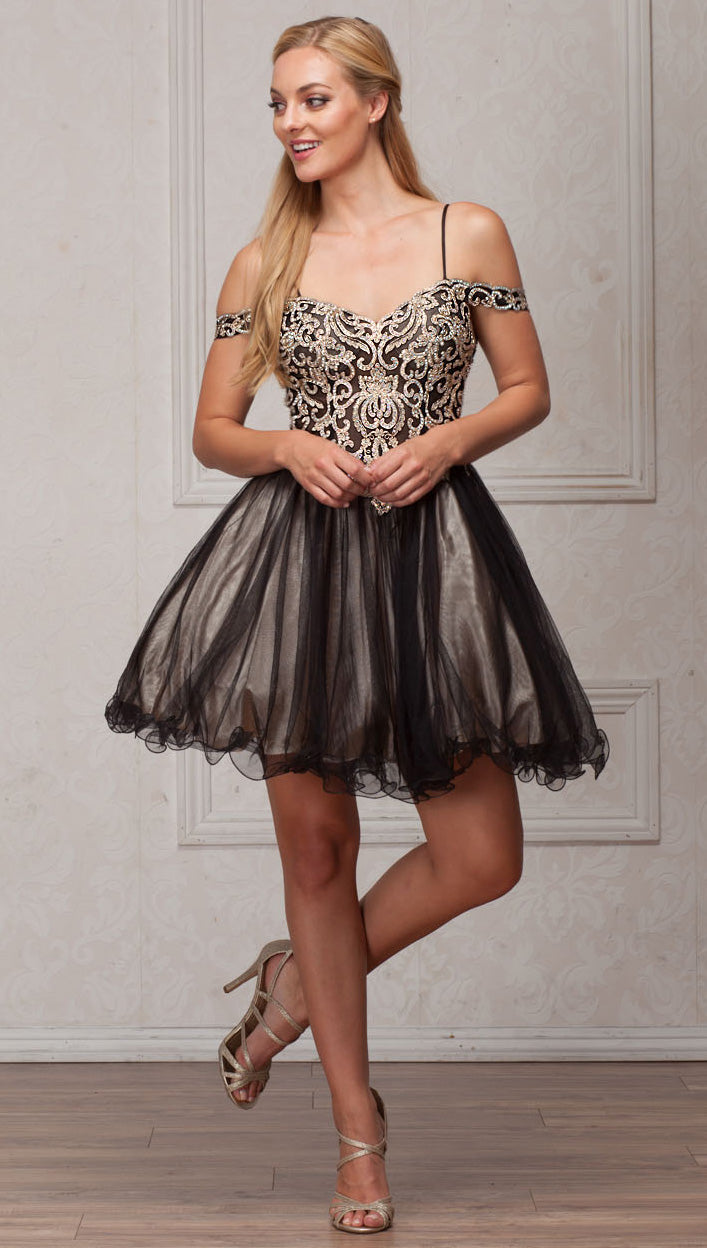Image of Spaghetti Straps Cold-shoulder Beaded Tulle Short Prom Dress in Black