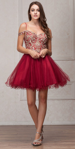 Main image of Spaghetti Straps Cold-shoulder Beaded Tulle Short Prom Dress