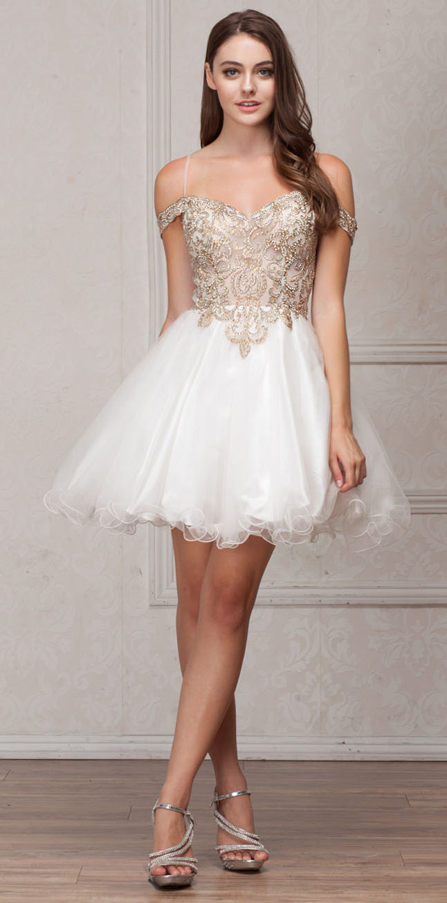 Image of Spaghetti Straps Cold-shoulder Beaded Tulle Short Prom Dress in Off White