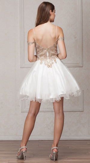 Back image of Spaghetti Straps Cold-shoulder Beaded Tulle Short Prom Dress
