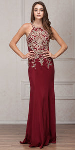 Image of Round Collar Neck Embellished Bodice Long Prom Pageant Dress in Burgundy