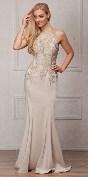 Image of Round Collar Neck Embellished Bodice Long Prom Pageant Dress in Champaign