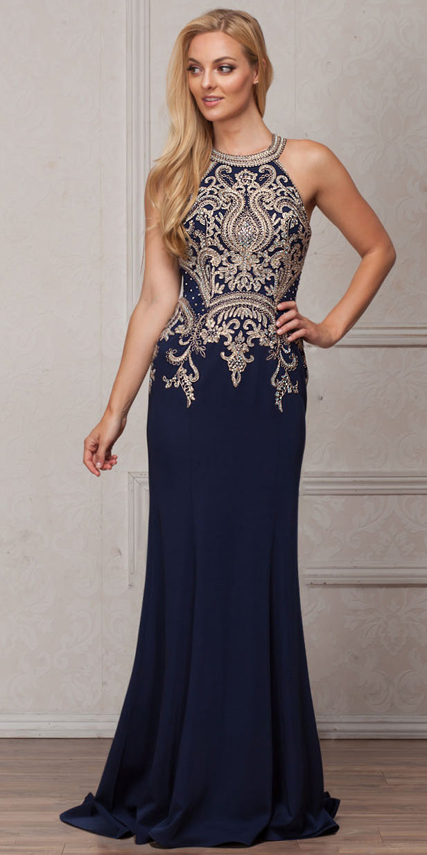 Main image of Round Collar Neck Embellished Bodice Long Prom Pageant Dress