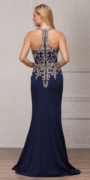 Back image of Round Collar Neck Embellished Bodice Long Prom Pageant Dress