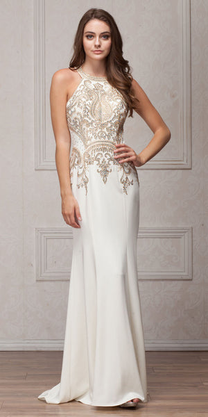 Image of Round Collar Neck Embellished Bodice Long Prom Pageant Dress in Off White
