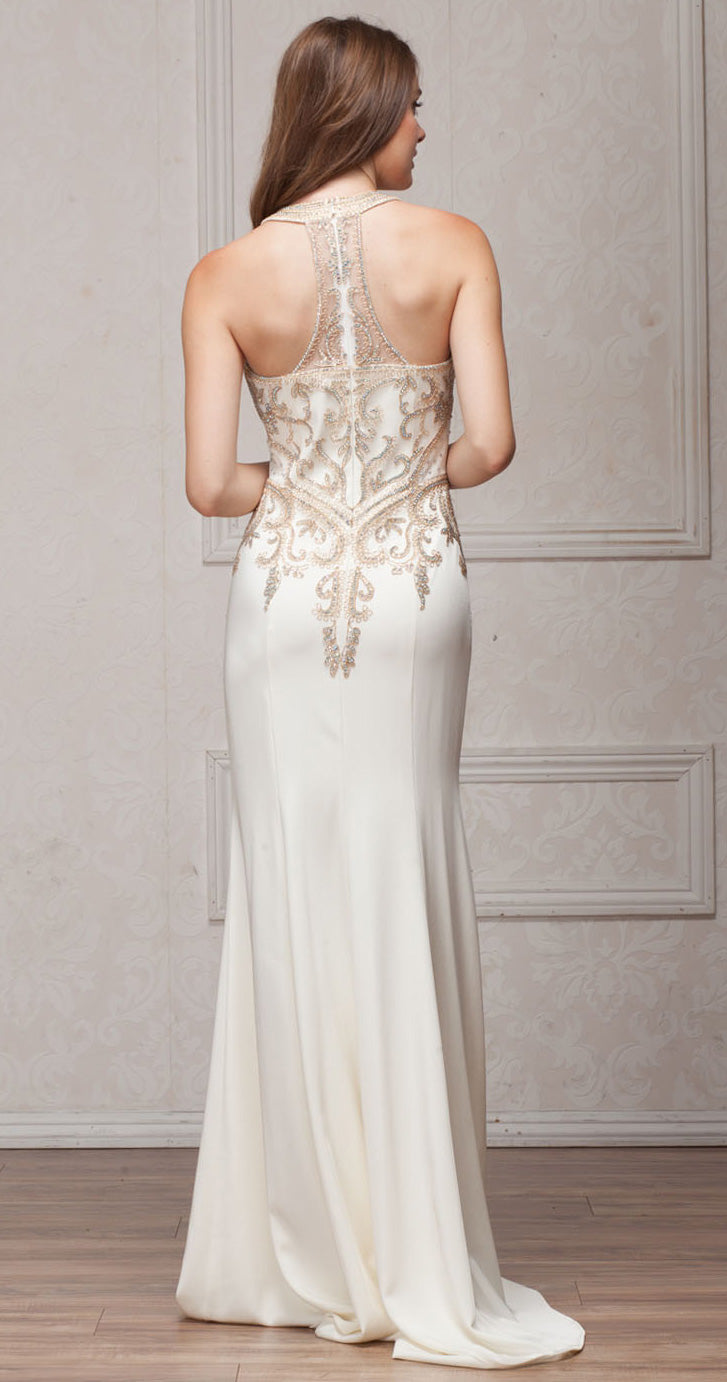Image of Round Collar Neck Embellished Bodice Long Prom Pageant Dress back in Off White