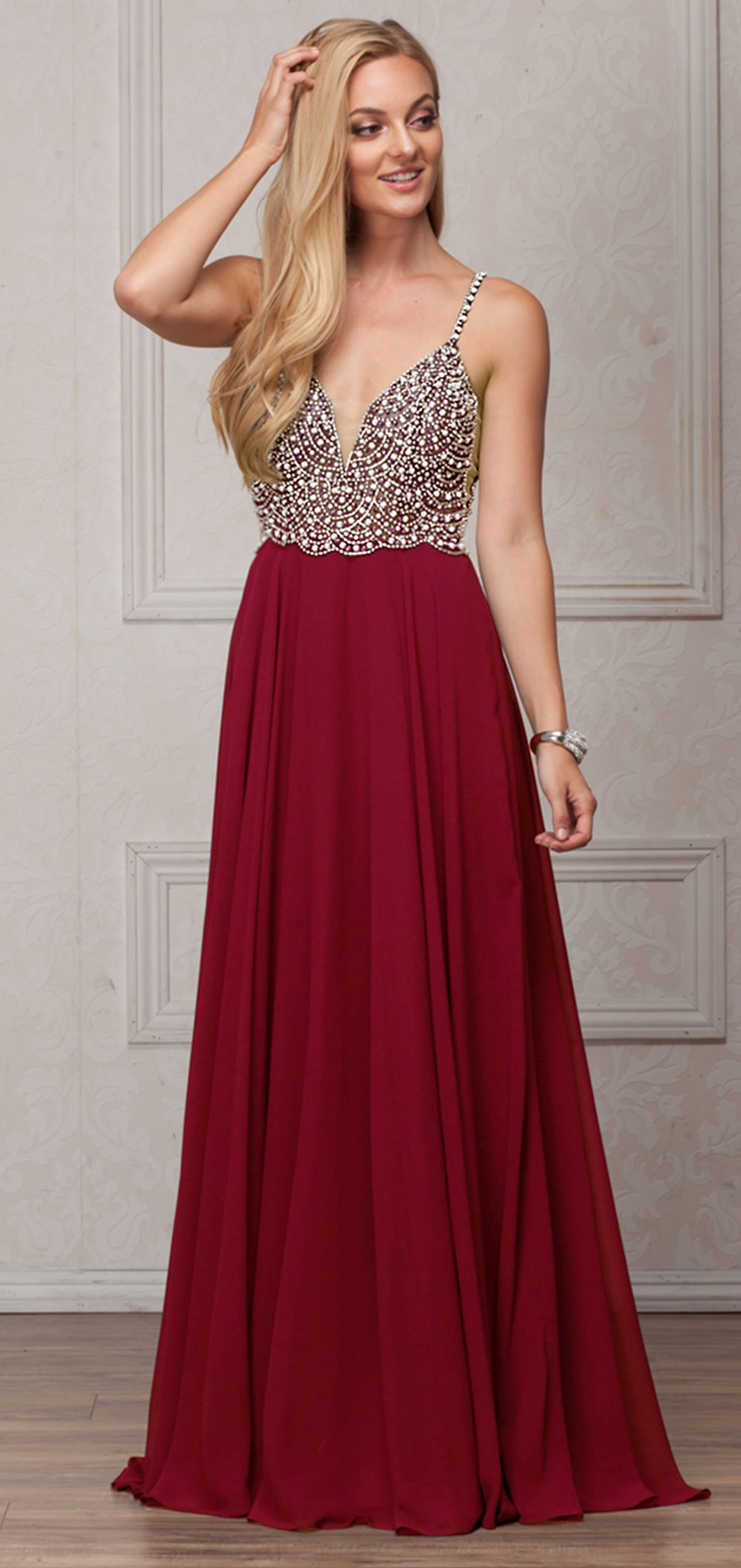 Image of Bejeweled Bodice V-neck Spaghetti Straps Formal Prom Dress in Burgundy
