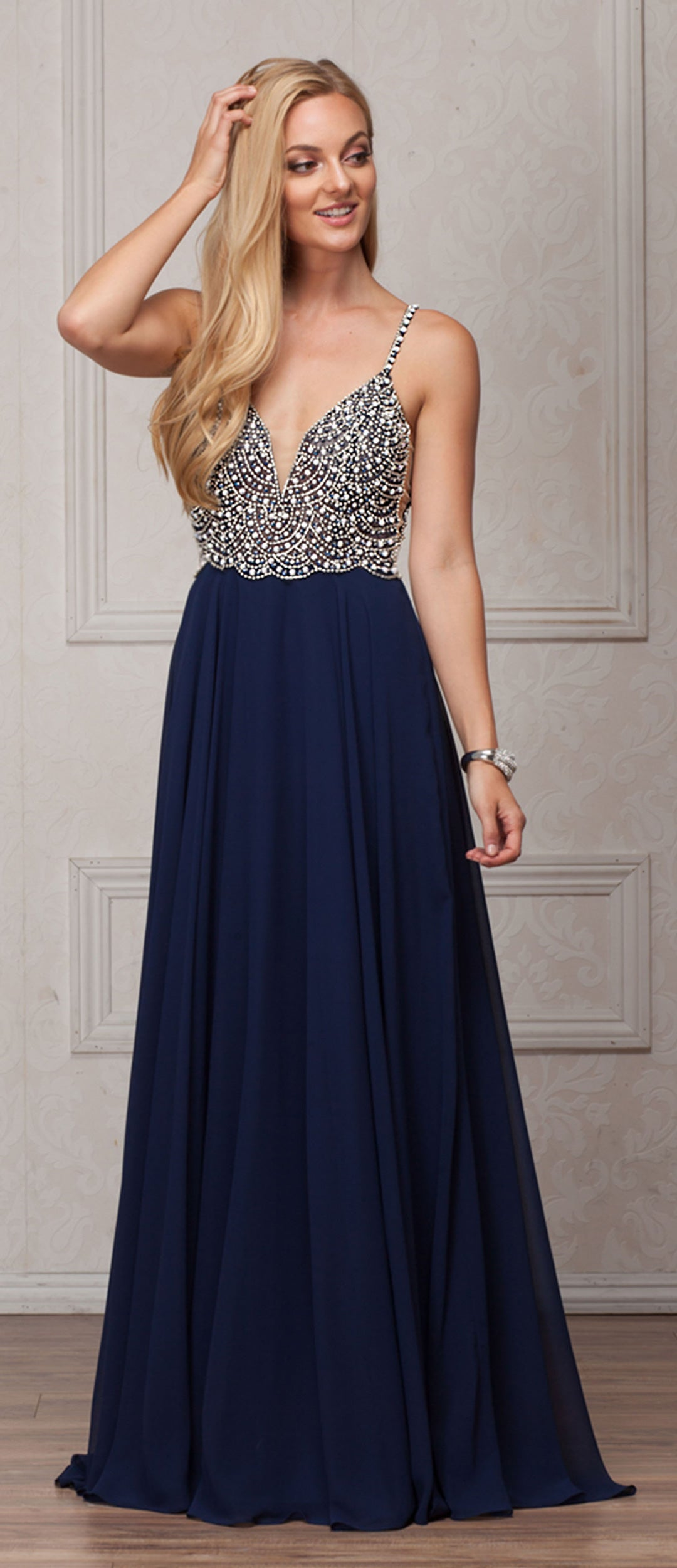 Image of Bejeweled Bodice V-neck Spaghetti Straps Formal Prom Dress in Navy