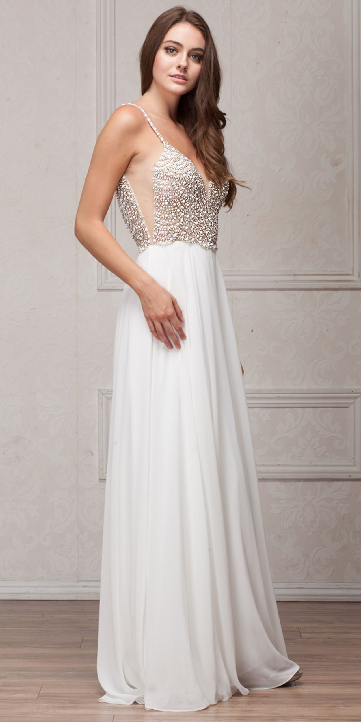 Image of Bejeweled Bodice V-neck Spaghetti Straps Formal Prom Dress in an alternative image