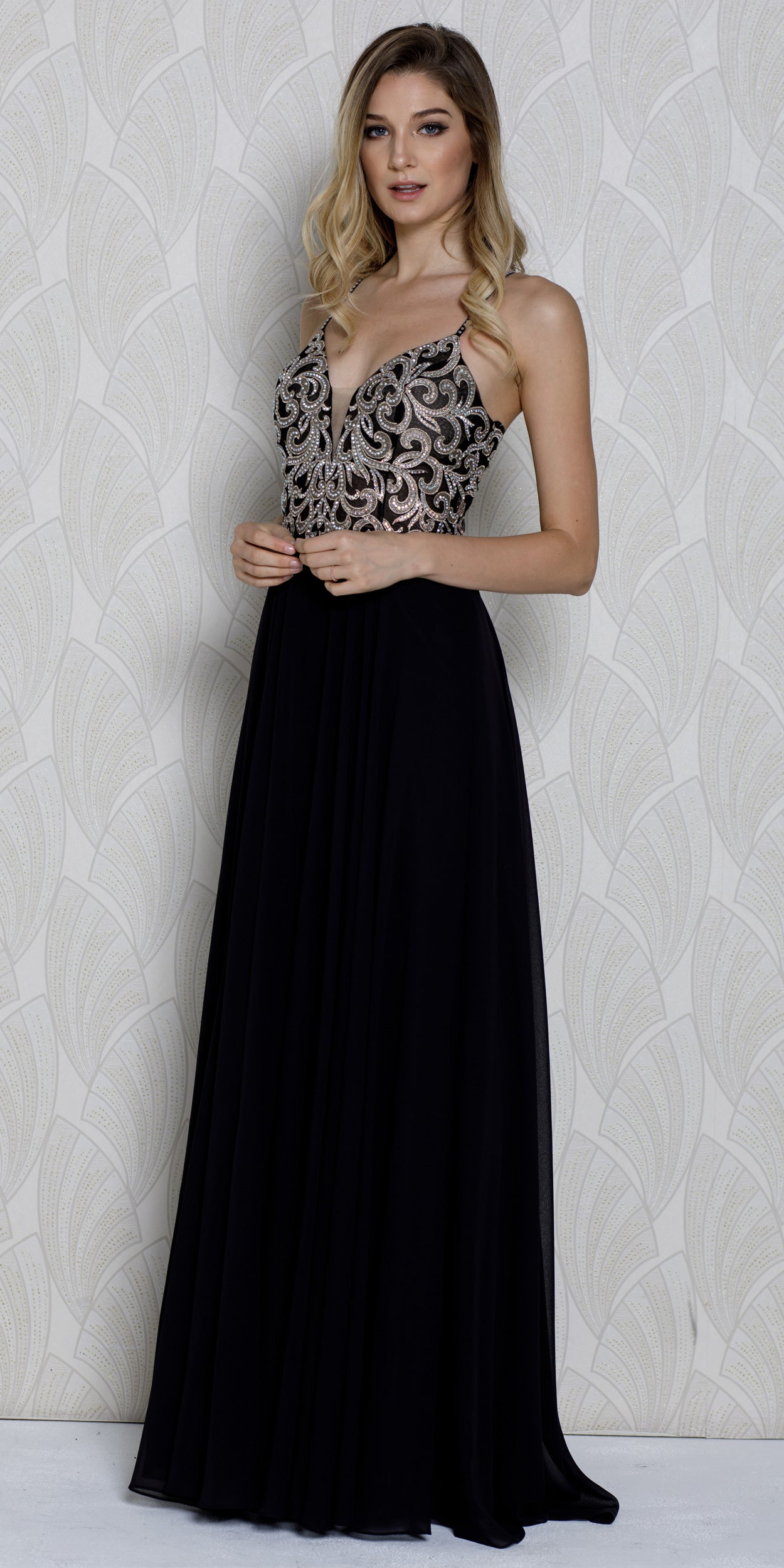 Main image of V-neck Beaded Lace Bodice Long Formal Prom Dress