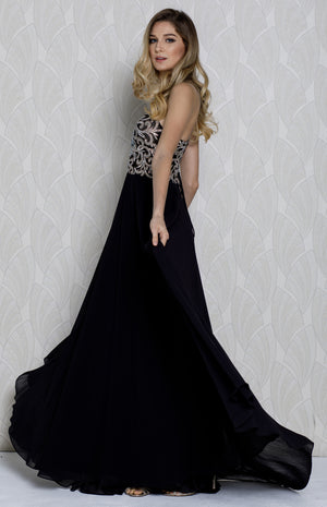 Image of V-neck Beaded Lace Bodice Long Formal Prom Dress in an alternative image