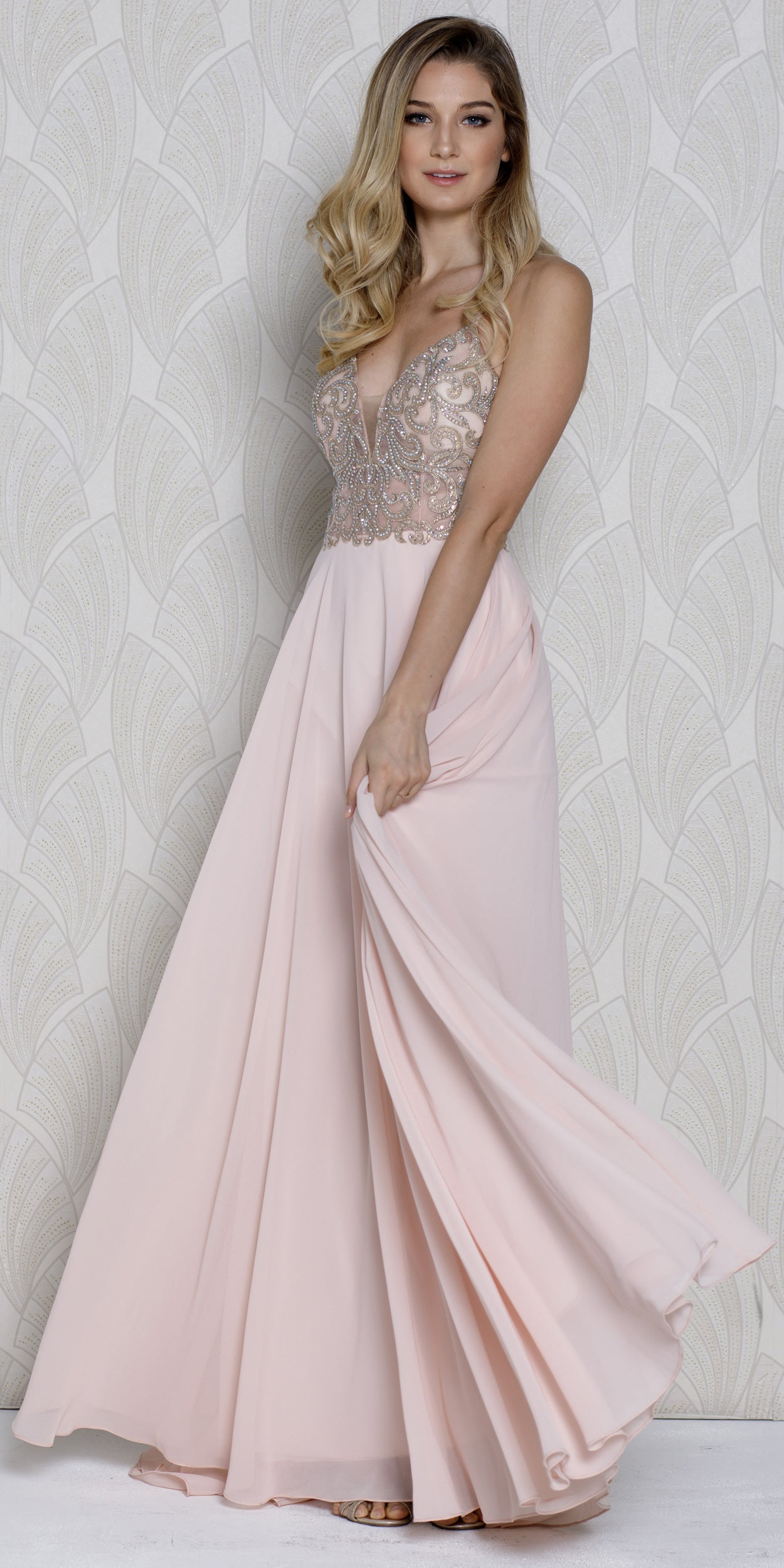 Image of V-neck Beaded Lace Bodice Long Formal Prom Dress in Blush