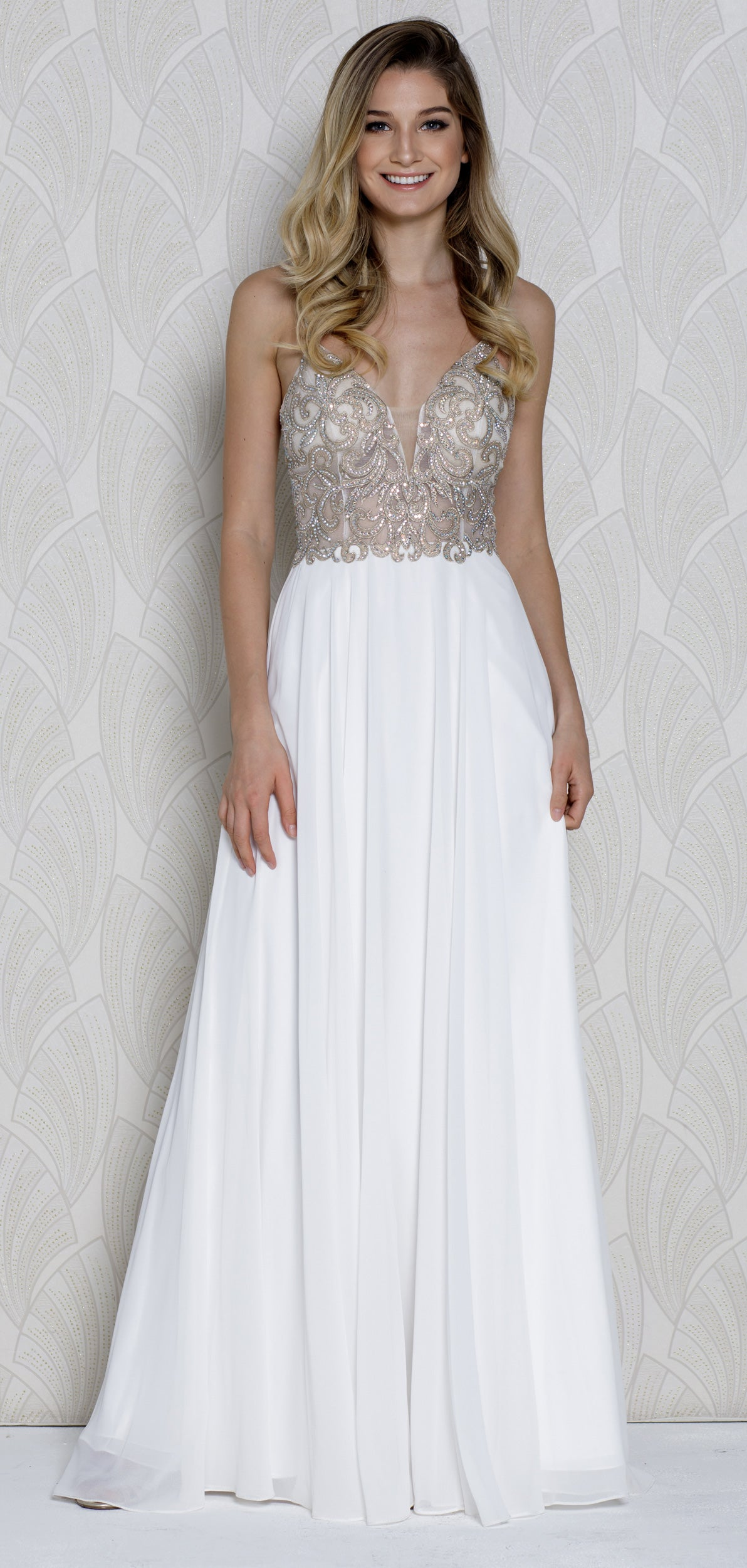 Image of V-neck Beaded Lace Bodice Long Formal Prom Dress in Off White