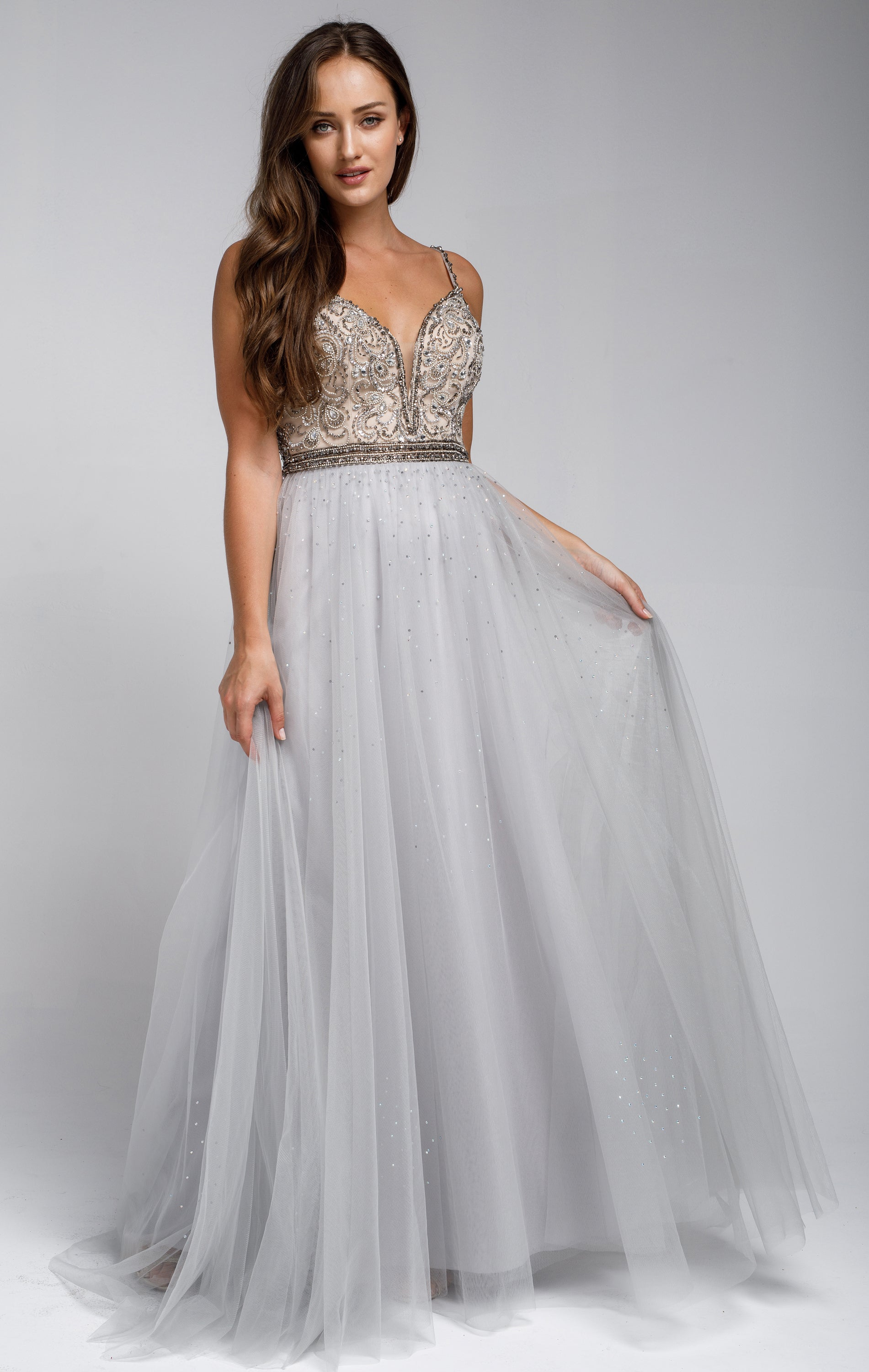 Image of Beaded Spaghetti Prom Gown With Tulle Skirt in Silver