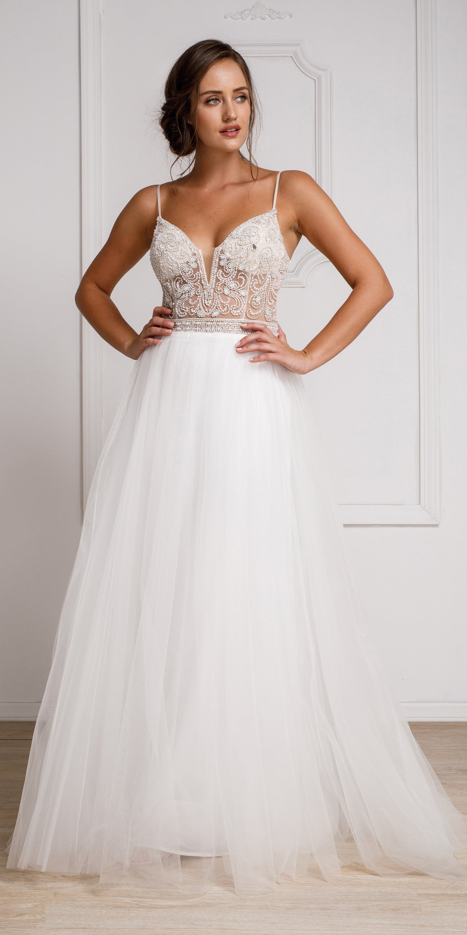 Image of Beaded Spaghetti Prom Gown With Tulle Skirt in White