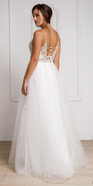 Image of Beaded Spaghetti Prom Gown With Tulle Skirt back in White