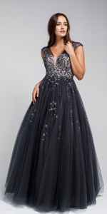 Image of Beaded Embellished V Neck Prom Ball Gown in Charcoal