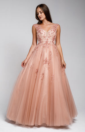 Main image of Beaded Embellished V Neck Prom Ball Gown