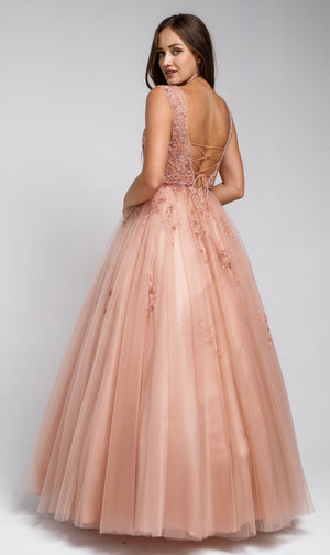 Back image of Beaded Embellished V Neck Prom Ball Gown