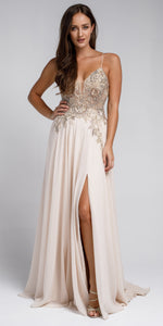 Image of Beaded Embellished Spaghetti Prom Dress in Champaign