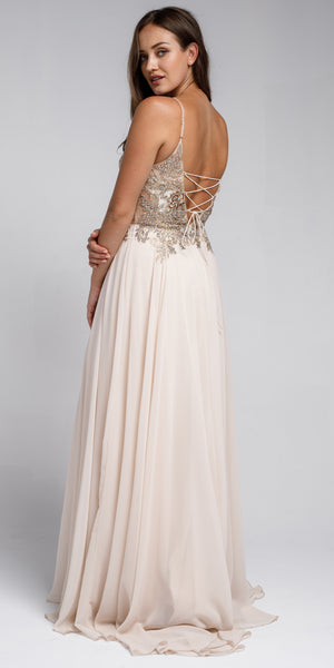 Image of Beaded Embellished Spaghetti Prom Dress back in Champaign