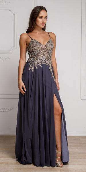 Main image of Beaded Embellished Spaghetti Prom Dress
