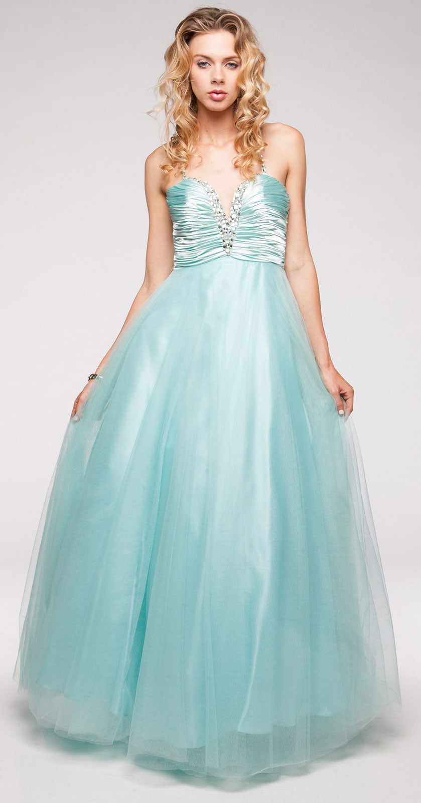 Image of V-neck Satin Bodice Puffy Mesh Skirt Formal Prom Dress in alternative picture