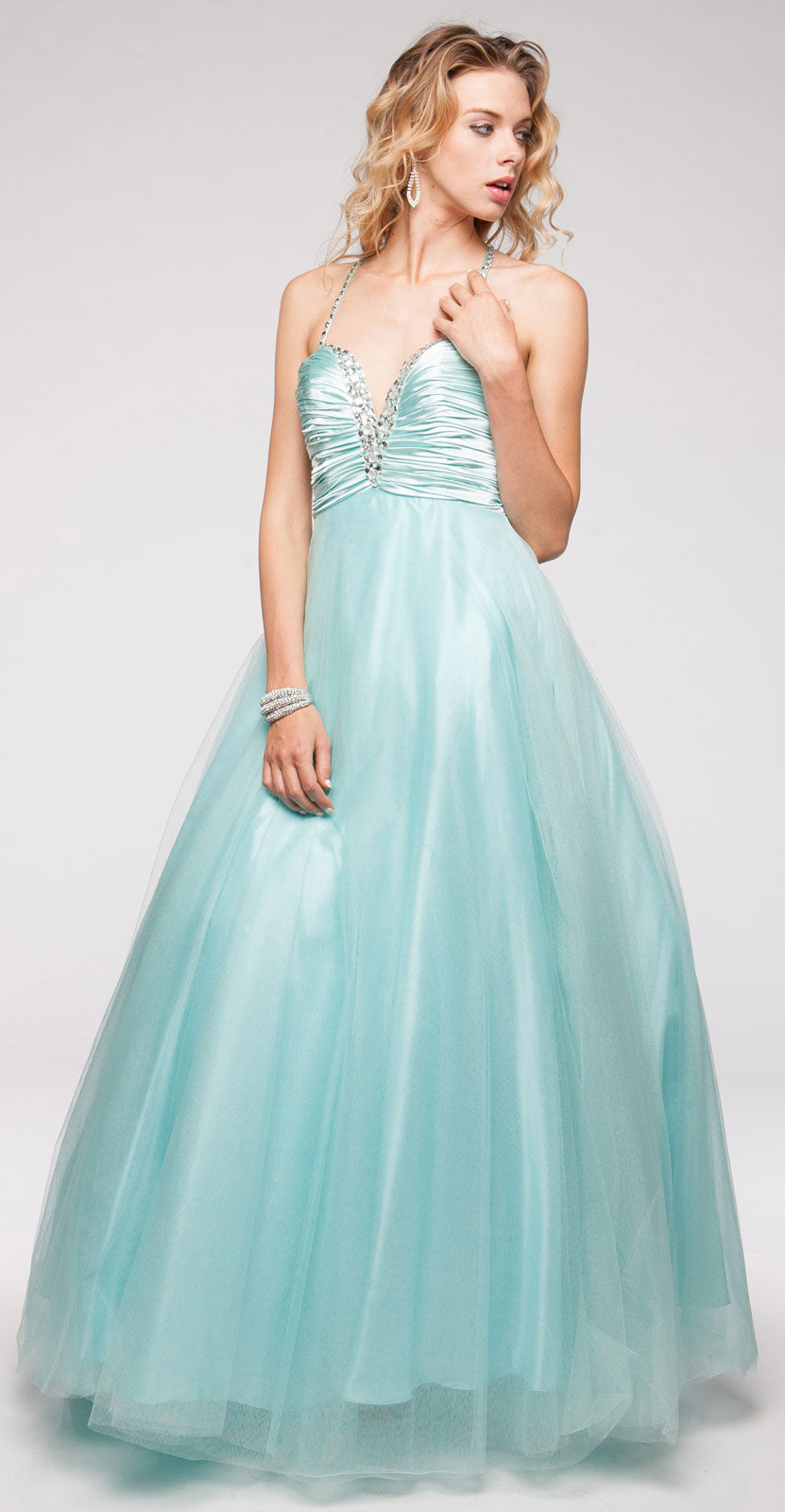 Main image of V-neck Satin Bodice Puffy Mesh Skirt Formal Prom Dress