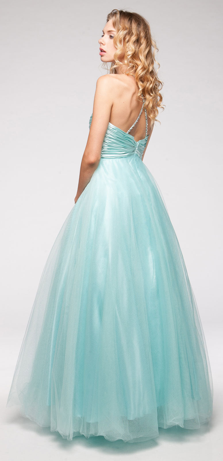 Back image of V-neck Satin Bodice Puffy Mesh Skirt Formal Prom Dress