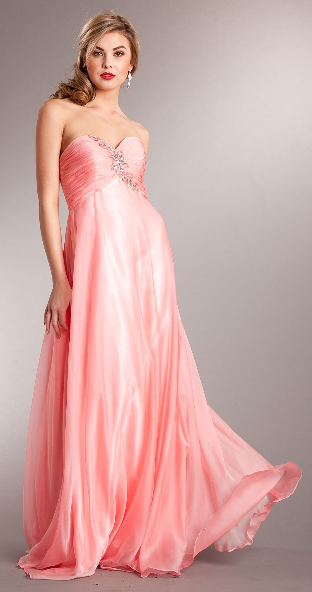 Main image of Strapless Shirred Long Formal Prom Dress With Rhinestones