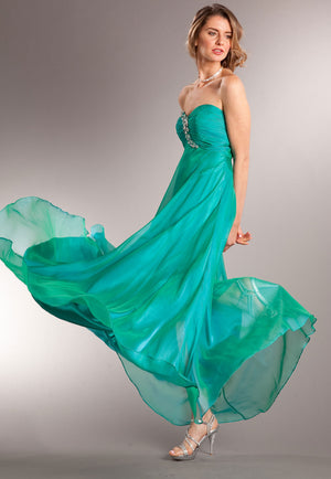 Image of Strapless Shirred Long Formal Prom Dress With Rhinestones in Green