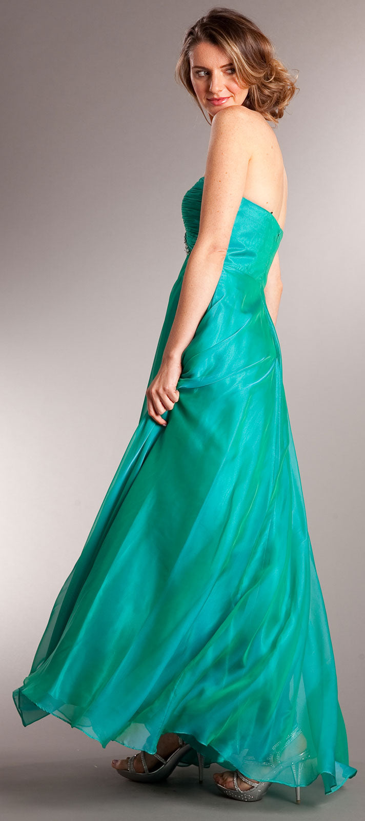 Back image of Strapless Shirred Long Formal Prom Dress With Rhinestones
