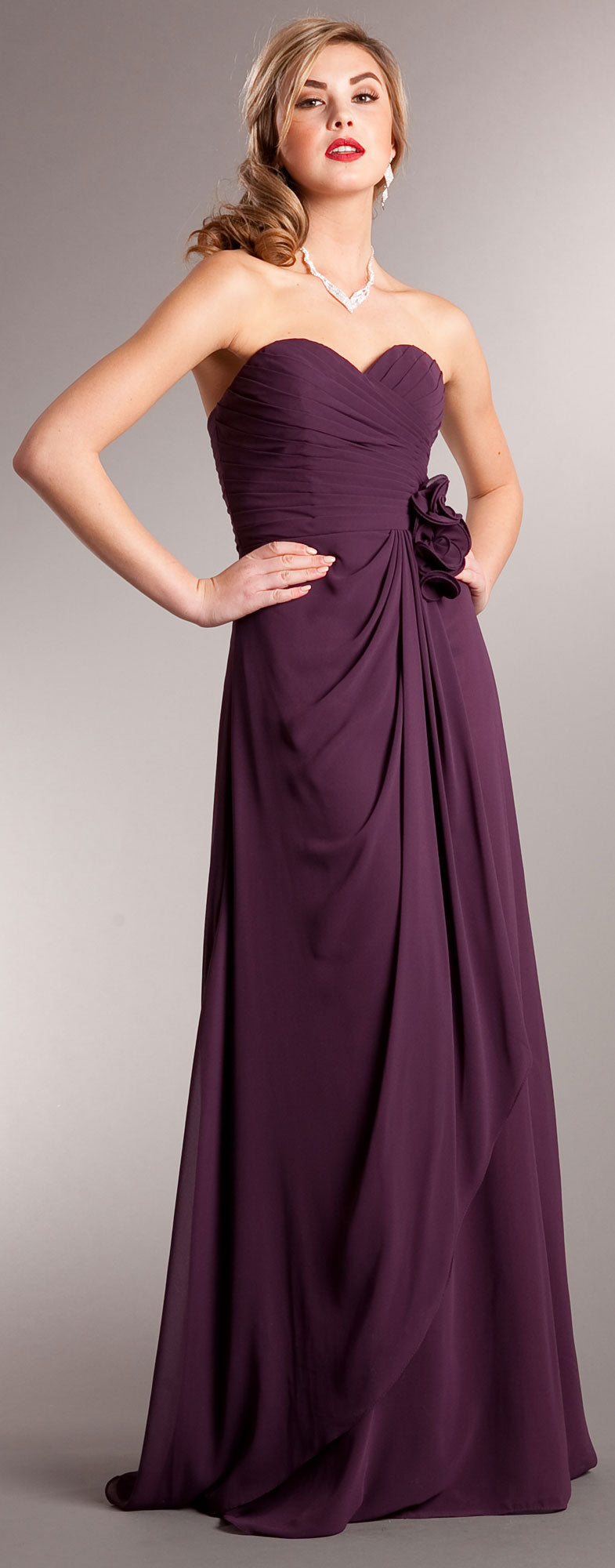 Main image of Pleated Wrap Style Floral Long Formal Bridesmaid Dress