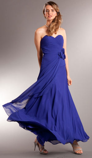 Image of Pleated Wrap Style Floral Long Formal Bridesmaid Dress in Royal Blue