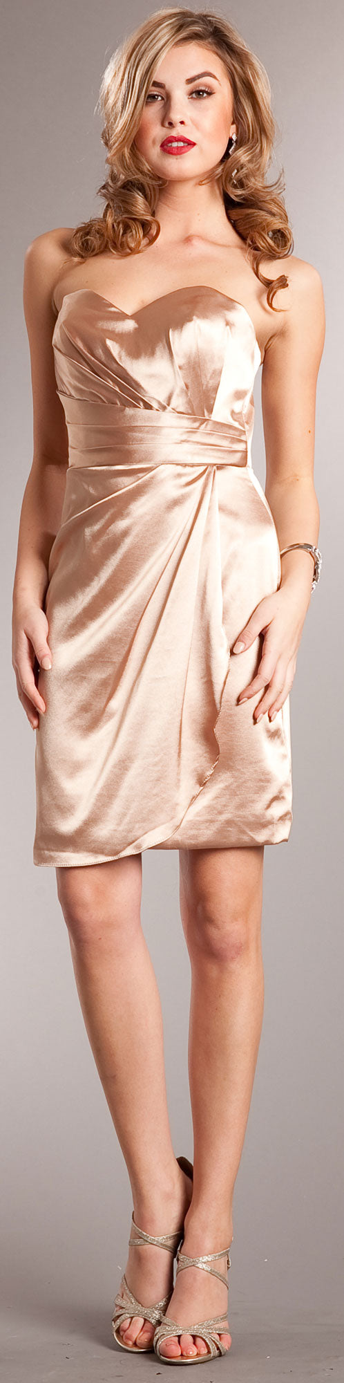 Main image of Strapless Wrap Around Short Bridesmaid Party Dress