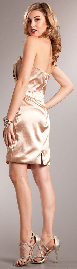 Back image of Strapless Wrap Around Short Bridesmaid Party Dress